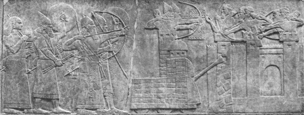 Relief of Sennacherib's siege of Lachish in the Palace of Sennacherib. From the Hathi Trust Digital Library.