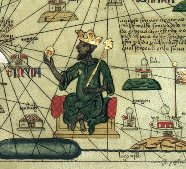 Image: Portrait of Mansa Musa in the Catalan Atlas. From the Wikimedia Commons.