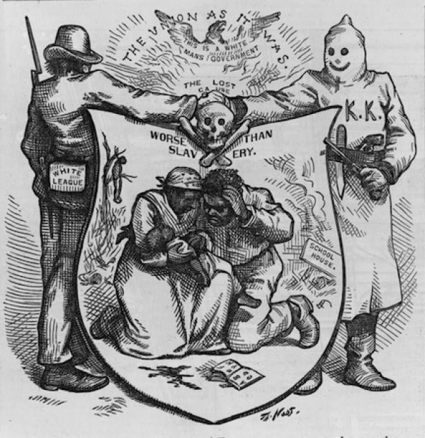 1874 cartoon by Thomas Nast, about violence by organisations like the Ku Klux Klan and the White League against African Americans in the southern states of the USA