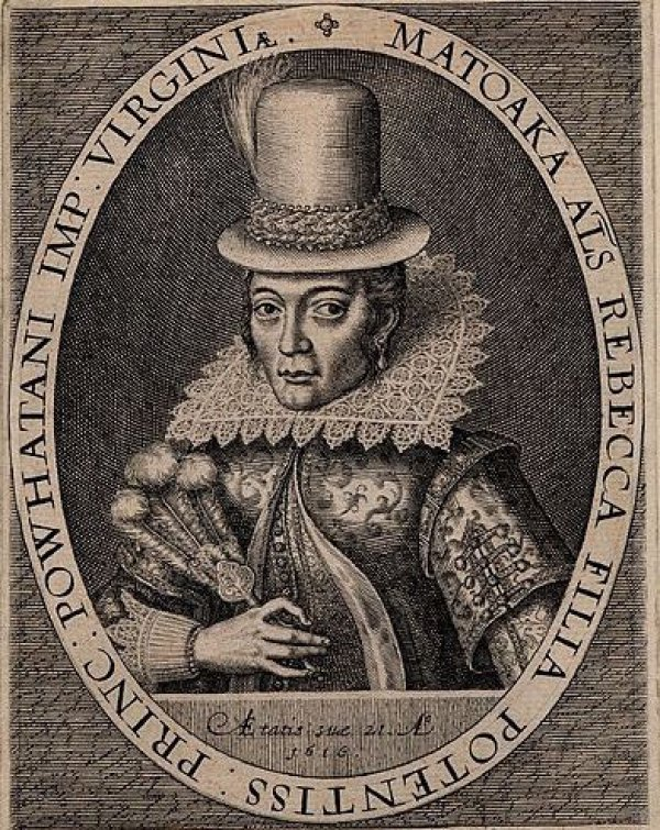 Engraving of Pocahontas by Simon van de Passe was created in 1616.