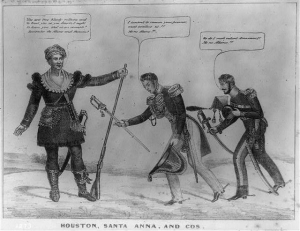 Image: Political cartoon of General Santa Anna's surrender drawn by Edward W. Clay in 1836. From the Library of Congress.
