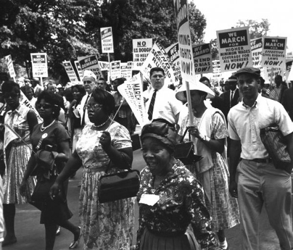 Image: Photo of the Civil Rights March on Washington taken August 28, 1963. From the National Archives.