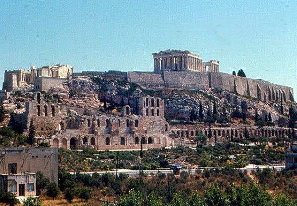 Image: Photograph of the Acropolis from the Pnyx taken in 1967 by Roger Wollstadt. From Flickr.