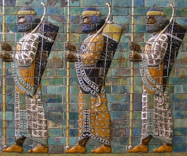 Image: Persian warriors from a replica of the Ishtar Gate, 575 BCE. Retrieved from the Wikimedia Commons.