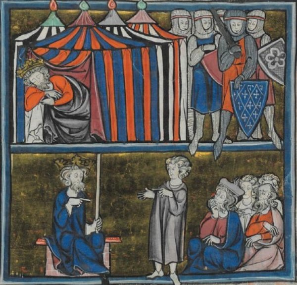 Image: Illustration from the 13th century manuscript of Middle Ages romance stories by Robert de Boron. From the World Digital Library.