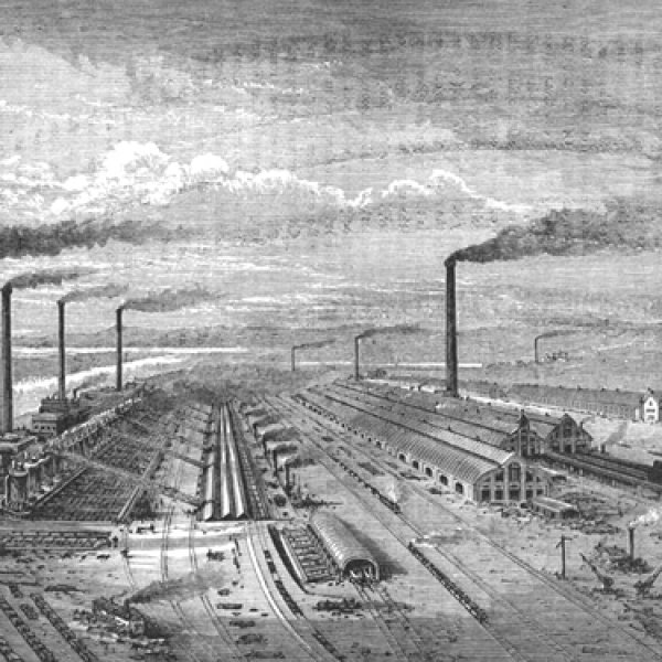 Image: Illustration of Steelworks at Barrow-in-Furness made in 1877 or earlier. From the Wikimedia Commons.