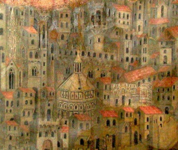 Image: The first surviving depiction of Florence, a fresco created in 1342 by Bernardo Daddi. From the Wikimedia Commons.