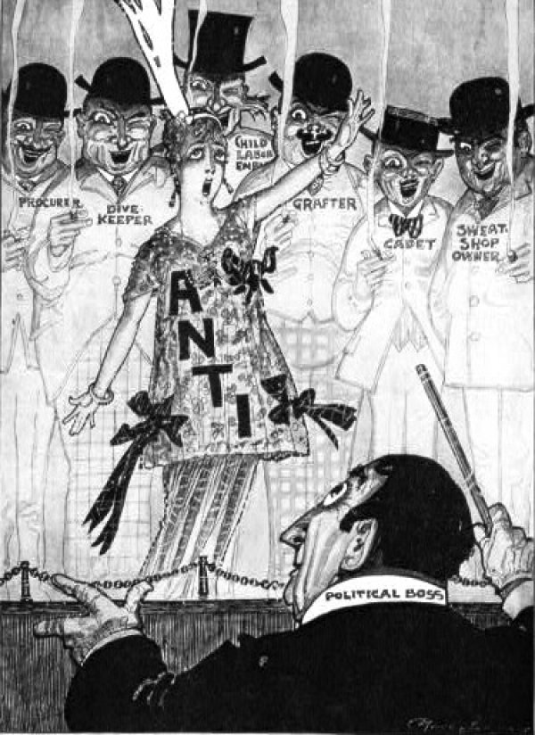 Image: 1915 Political cartoon showing political boss conducting anti-suffragette, sweat shop owner, child labor employer, and others. From the Library of Congress.