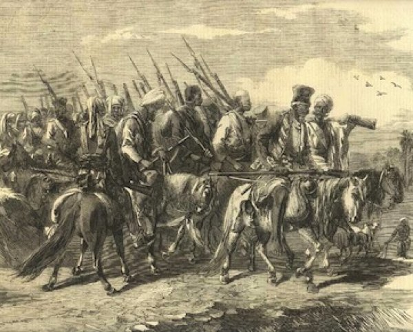 Image: Illustration of Tatya Tope's soldiery published by the Illustrated London News, 1858. From the Wikimedia Commons.