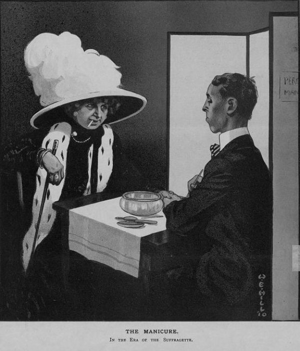 Image: Anti-suffragist political cartoon made by W.E. Hill in 1910. From the Library of Congress.