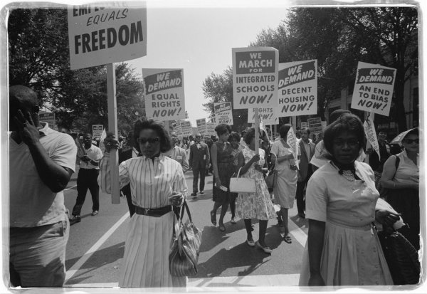 Image: Photo of a 1963 civil rights march on Washington, D.C., taken by Warren K. Leffler. From the Library of Congress.