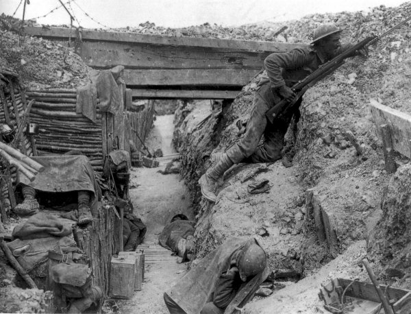 Image: Photo of a British trench during the Battle of the Somme taken by John Warwick Brooke, 1916. From the Wikimedia Commons.