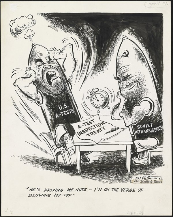 The Cold War  Stanford History Education Group  Political Cartoon By Edmund Valtman Compare Contrast Essay Examples High School also Business Argumentative Essay Topics  Buy Book Report