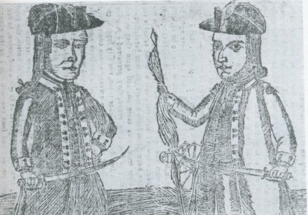 Image: Illustration of Daniel Shays and Job Shattuck from a 1787 almanac. From the Wikimedia Commons.