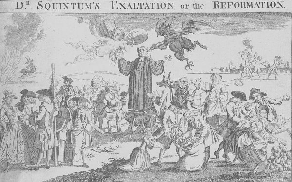Image: 1763 political cartoon lampooning George Whitefield. From the Library of Congress.