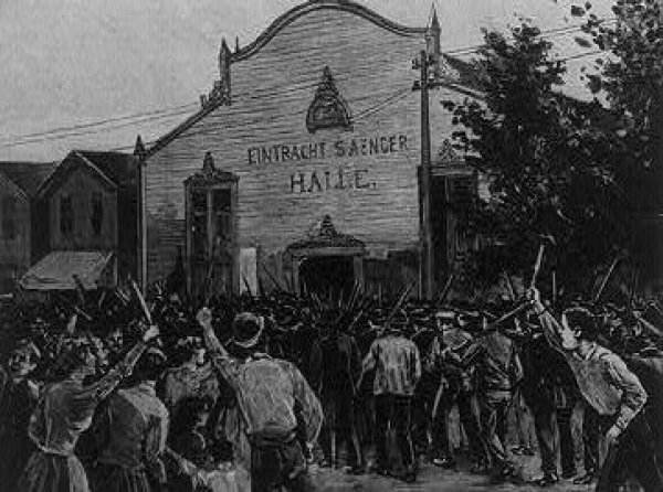 Image: Drawing of the Homestead Steel Strike by Charles Mente, 1892. From the Library of Congress.