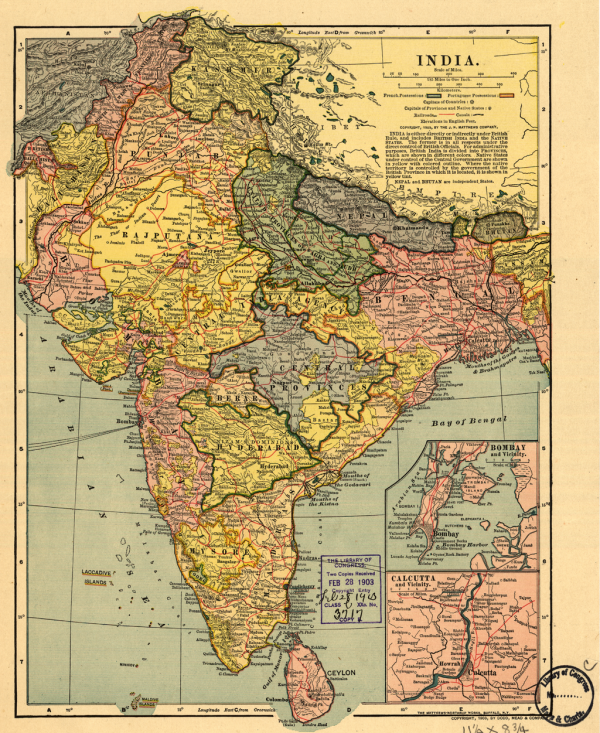 Early-20th century map shows the British Empire in India