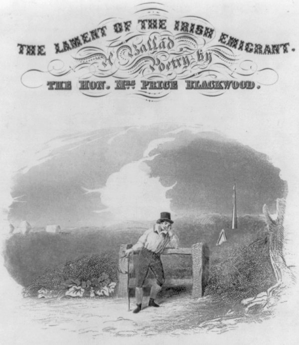 Image: Sheet music cover of The Lament of the Irish Emigrant, a Ballad published by Geo. P. Reed in 1843. From the Library of Congress.