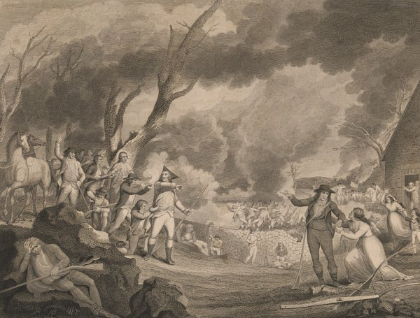 Image: Engraving of the Battle of Lexington made by Cornelius Tiebout in the 1790s. From the Library of Congress.