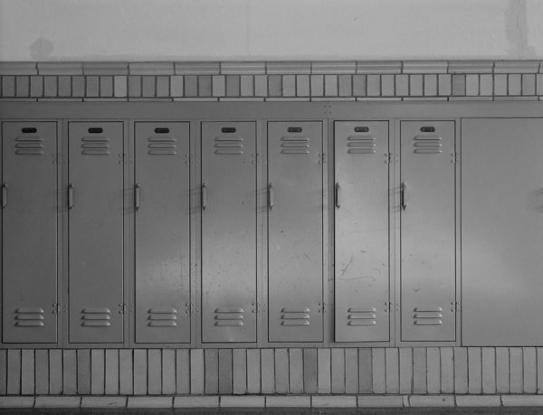 Image: Photo of elementary school lockers taken by Jayne Henderson Fiegel and Nathan Prichard in Louisville, KY, 1992. From the Library of Congress.