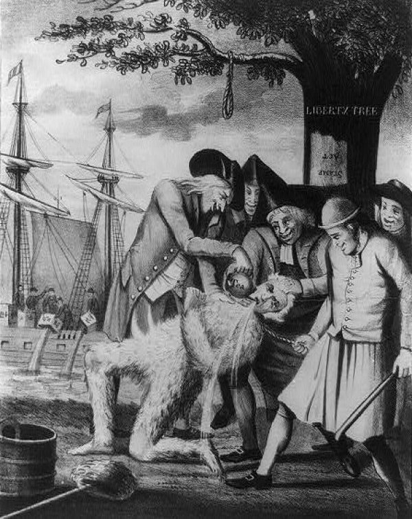 Image: Illustration of tarring and feathering published in London in 1774. From the Library of Congress.
