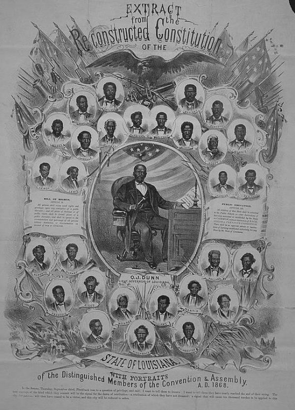 Image: Extract from the reconstructed Constitution of Louisiana, with portraits of the members of the Convention & Assembly, 1868. From the Library of Congress.