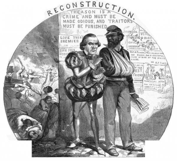 Image: Political cartoon lampooning Andrew Johnson's Reconstruction created by Thomas Nast in 1866. From the Library of Congress.