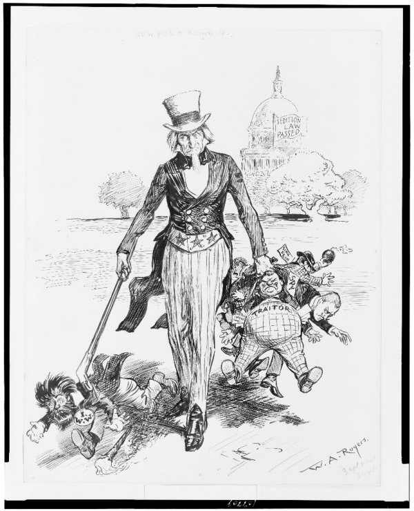 Image: Sedition Act political cartoon by W.A. Rogers, 1918. From the Library of Congress.