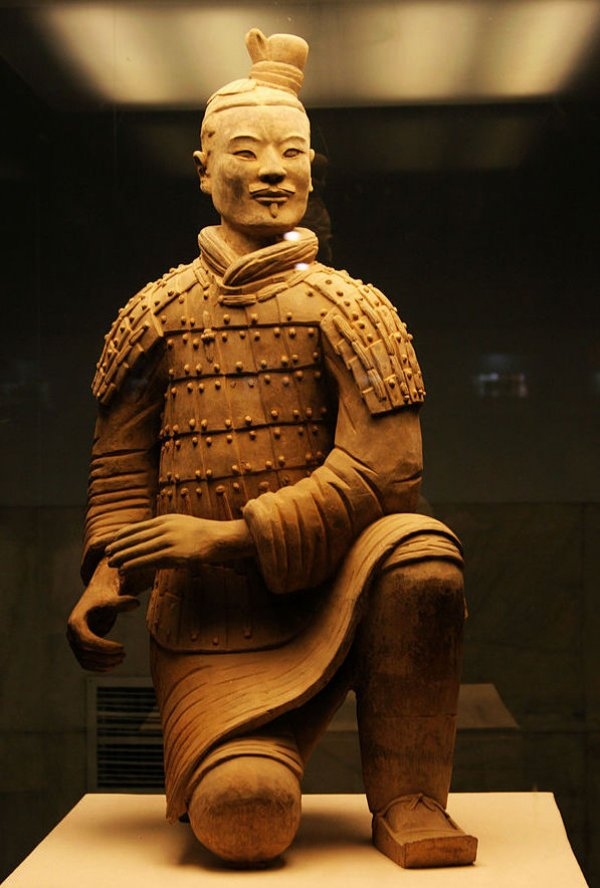 Image: Photo of a terracotta warrior from the First Emperor's tomb. From the Wikimedia Commons.