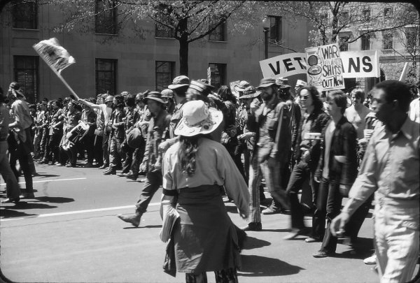 Image: Photo of 1971 protest against the Vietnam War in Washington, D.C., taken by Leena Krohn. From the Wikimedia Commons.