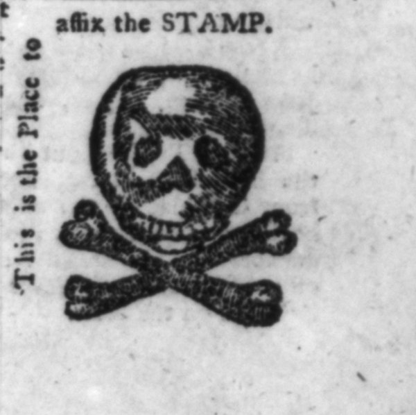 Image: Stamp Act political cartoon published by William Bradford in 1765. From the Library of Congress.