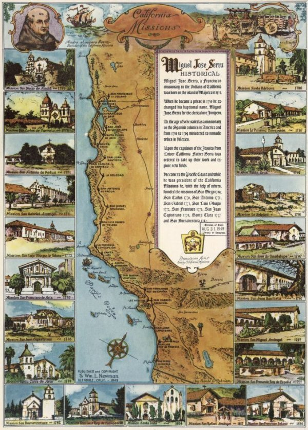 Image: Pictorial map of Spanish missions in California created in 1949. From the Library of Congress.