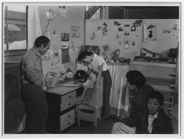 Image: Photograph of the Miyatake family at Manzanar in 1943. From the Library of Congress.