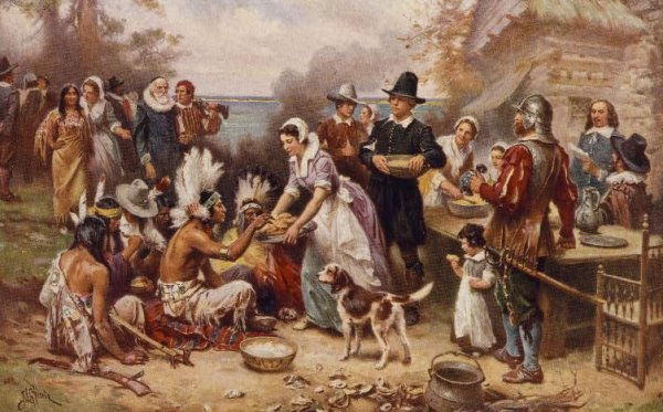 Image: Reproduction of The First Thanksgiving 1621, originally painted by J.L.G. Ferris. From the Library of Congress.