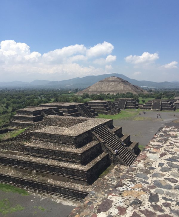 Facing the Pyramid of the Sun from the Pyramid of the Moon at Teotihuacan
