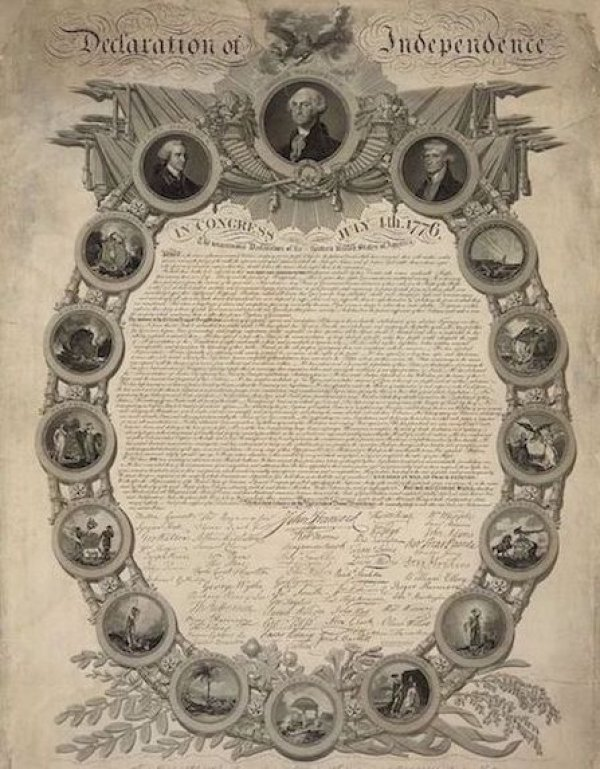 Image: An engraving of the Declaration of Independence by John Binns, 1818. From the Library of Congress.