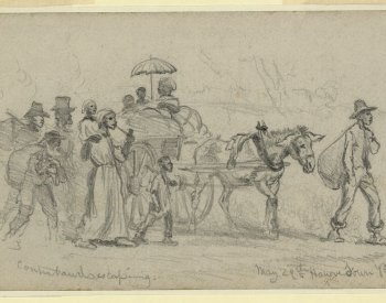 "Drawing of ""Contrabands"" Escaping in Virginia"