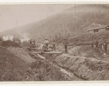 Gold miners in California image