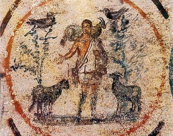 Image: The Good Shepherd, painted c. 250-300 CE, in the Catacomb of Priscilla. From the Wikimedia Commons.