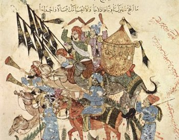 Image: 13th-century illustration of pilgrims on a Hajj produced in Baghdad by al-Wasiti. From the Wikimedia Commons.