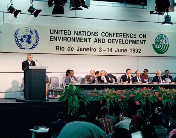 Photograph of United Nations Conference on Environment and Development in Rio de Janeiro, Brazil, in 1992. From the United Nations.