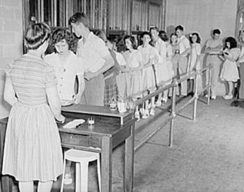 Image: Photo of Virginia high school cafeteria taken by Philip Bonn in 1943. From the Library of Congress.