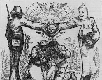 "Image: Political cartoon titled ""The Union as It Was"" made by Thomas Nast in 1874. From the Library of Congress."