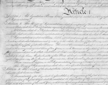 Image: Manuscript of the Constitution of the United States, 1787. From the Wikimedia Commons.