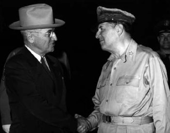 Image: Photograph of President Truman and General MacArthur by the U.S. Department of State, 1950. From the Wikimedia Commons.