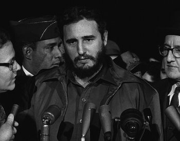 Image: Photo of Fidel Castro arriving in Washington, D.C., in April 1959. From the Library of Congress.