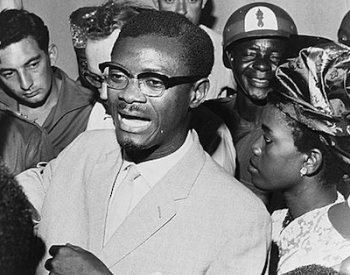 Image: Photo of Patrice Lumumba speaking with supporters in his effort to regain office, taken in Leopoldville, Congo, on October 15, 1960. From the Library of Congress.
