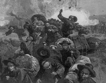 Image: 1885 Drawing of the massacre of Chinese miners at Rock Springs, Wyoming, by Thure de Thulstrup. From the Library of Congress.