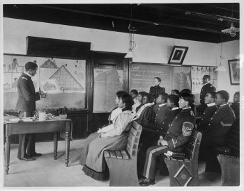 Photo of African-American and Native American students in Ancient History class by Frances Benjamin Johnston, 1899.