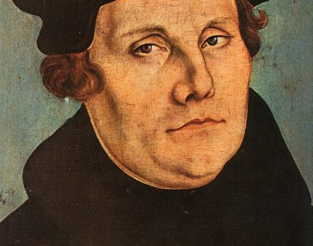 Image: Portrait of Martin Luther made by Lucas Cranach the Elder in 1529. From the Wikimedia Commons.
